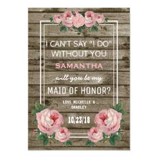 Will you be my Maid of Honor | Rustic Vintage Invitation