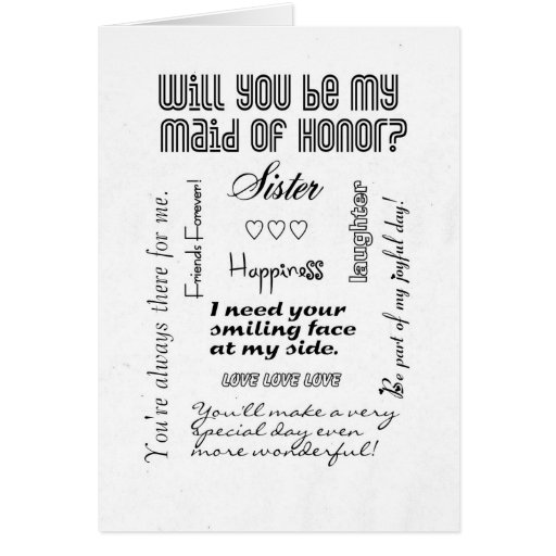 Will You Be My Maid of Honor, Sister? Cards