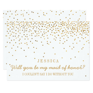 Will You Be My Maid Of Honor Vintage Gold Confetti Invitation