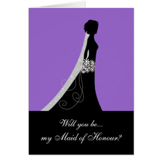 Will You Be My Maid of Honour? Note Cards Purple