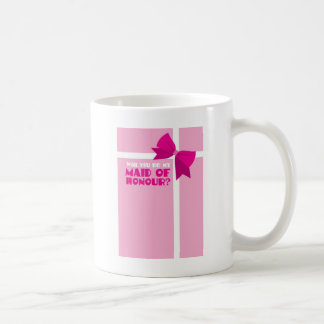 Will you be my maid of honour? pink bows classic white coffee mug