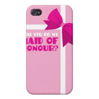 Will you be my maid of honour? pink bows cover for iPhone 4