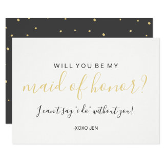 Will You Be My MaidofHonor Card - Gold Dots Black