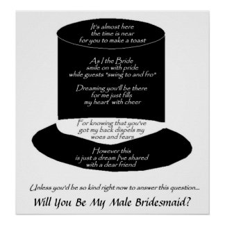 """Will You Be My (Male) Bridesmaid"" - Customizable Poster"
