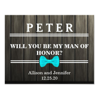 Will you be my Man of Honor? Personalized Wooden Card