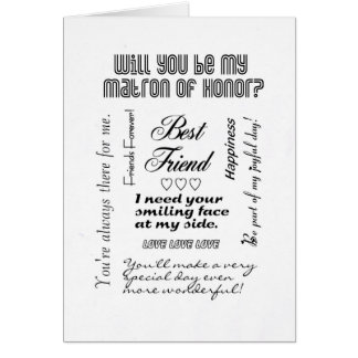 Will You Be My Matron of Honor, Best Friend? Card