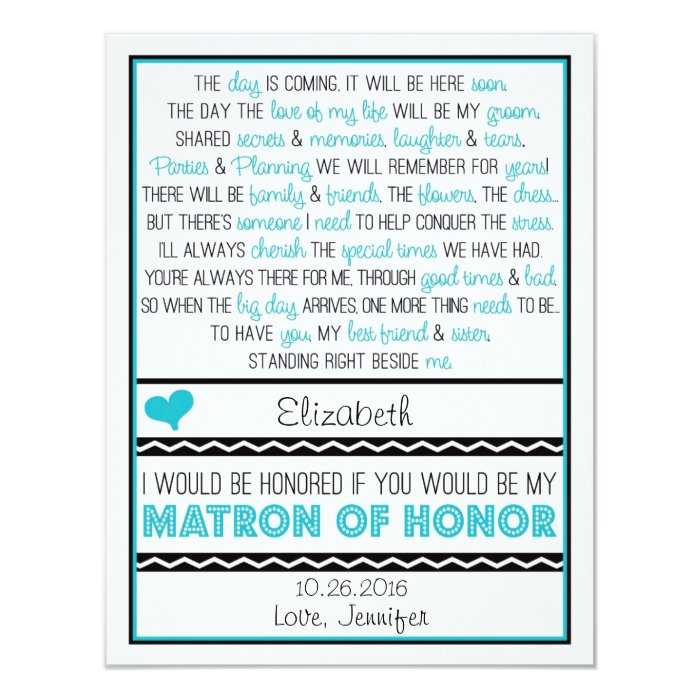 Will You Be My Matron Of Honor Blue Black Poem Card Zazzle