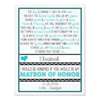 Will you be my Matron of Honor? Blue/Black Poem Card