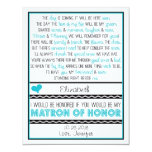 Will you be my Matron of Honor? Blue/Black Poem 4.25x5.5 Paper Invitation Card