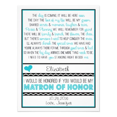 Will you be my Matron of Honor? Blue/Black Poem V2 Custom Invitation