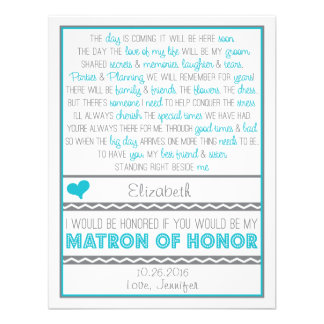 Will you be my Matron of Honor Blue Gray Poem Personalized Invite