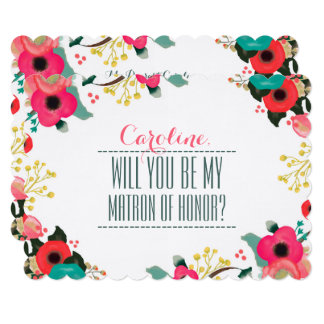 Will you be my Matron of Honor? Custom Invitations