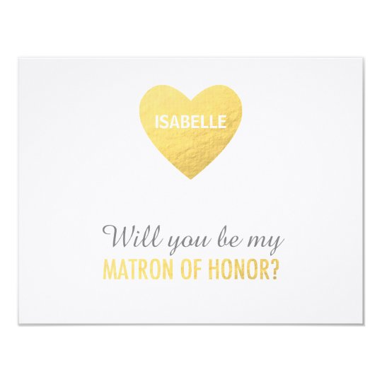 Will you be my matron of honor gold heart template   Zazzle.com