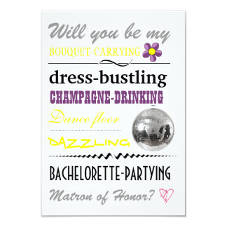 """""""Will you be my Matron of Honor?"""" 3.5x5 Paper Invitation Card"""