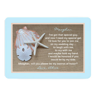 "Will You Be My Matron of Honor Invitation 5"" X 7"" Invitation Card"