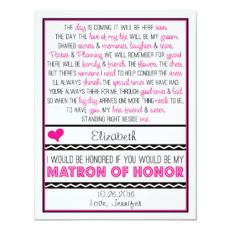 Will you be my Matron of Honor? Pink/Black Poem 4.25x5.5 Paper Invitation Card