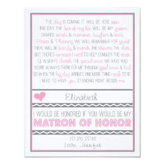 Will you be my Matron of Honor? Pink/Gray Poem V2 Custom Invitation