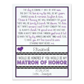 Will you be my Matron of Honor? Purple/Black Poem Card