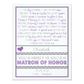 """Will you be my Matron of Honor? Purple/Gray Poem 4.25"""" X 5.5"""" Invitation Card"""