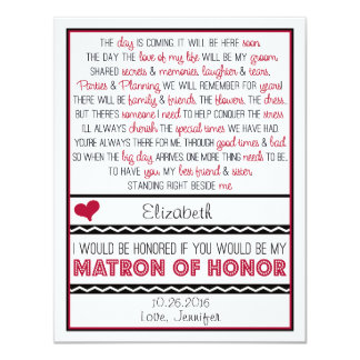 Will you be my Matron of Honor? Red/Black Poem 4.25x5.5 Paper Invitation Card