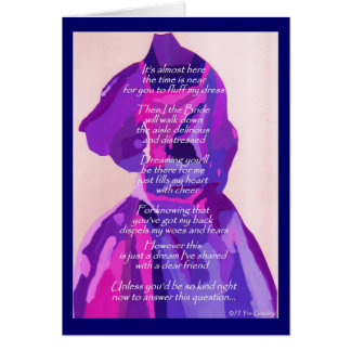 """""""Will You Be My Matron Of Honor"""" Winter Blue Card Cards"""