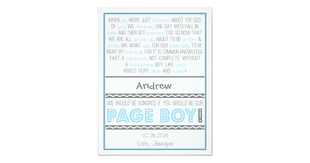 Will You Be My Page Boy Baby Blue Gray Poem Card Zazzle Com