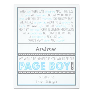 Will you be my Page Boy? Baby Blue/Gray Poem Card