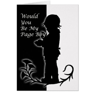 Will you be my pageboy, old time black and white card