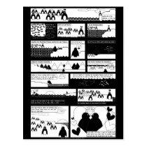 Will You Be My Penguin? Black BG Postcard