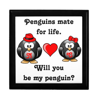 Will You Be My Penguin Mate for Life Proposal Love Jewelry Box