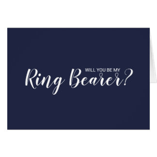 Will You Be My Ring Bearer? Modern Navy Blue Card