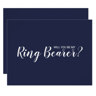Will You Be My Ring Bearer? Modern Navy Blue Invitation