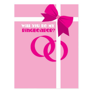 Will you be my ring bearer? pink bows postcard