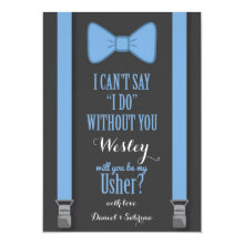 Will You Be My Usher - Blue Tie Braces Cards