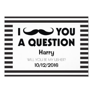 Will You Be My Usher Moustache Black Stripes Card