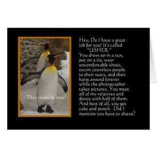 Will You Be My Usher? Penguin Humor Card