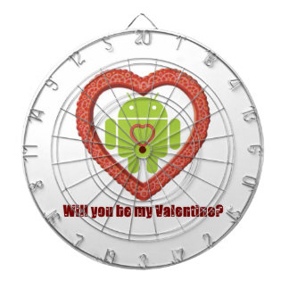 Will You Be My Valentine Bugdroid Two Hearts Dart Boards