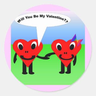 Will you be my valentine?? classic round sticker