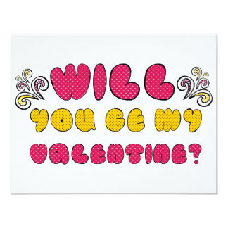 """Will you be my Valentine"" cute romantic doodle Card"