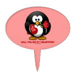 Will You Be My Valentine? (Linux Tux Heart Rose) Cake Picks