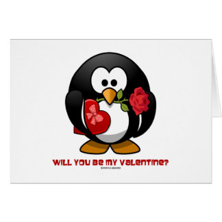 Will You Be My Valentine? (Linux Tux Heart Rose) Greeting Card