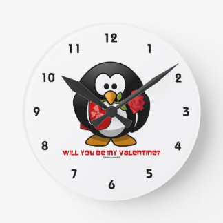Will You Be My Valentine? (Linux Tux Heart Rose) Clocks