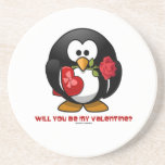 Will You Be My Valentine? (Linux Tux Heart Rose) Coasters