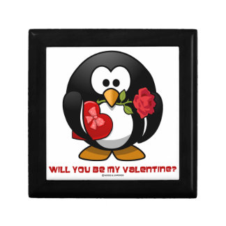 Will You Be My Valentine? (Linux Tux Heart Rose) Trinket Box