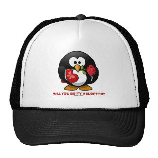 Will You Be My Valentine? (Linux Tux Heart Rose) Mesh Hat