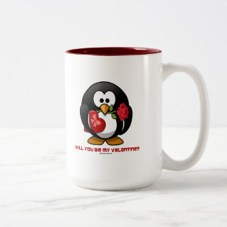 Will You Be My Valentine? (Linux Tux Heart Rose) Mug