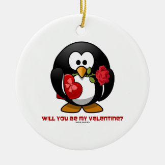 Will You Be My Valentine? (Linux Tux Heart Rose) Christmas Ornament