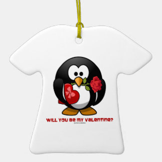 Will You Be My Valentine? (Linux Tux Heart Rose) Ornament