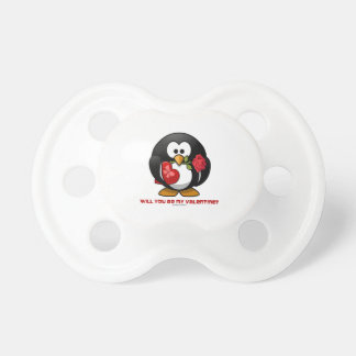 Will You Be My Valentine? (Linux Tux Heart Rose) Pacifiers