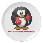 Will You Be My Valentine? (Linux Tux Heart Rose) Party Plate